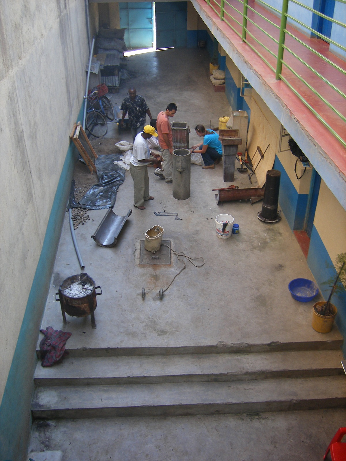 Making filters in hotel courtyard, Machakos 2007