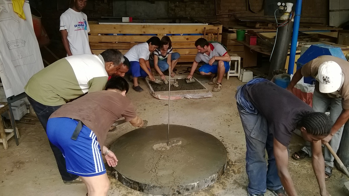 Making latrine slabs, Madagascar 2014